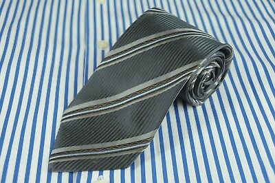 Hugo Boss Men's Tie Gray Brown & Ice Blue Striped Woven Silk Necktie 56 x 3.5