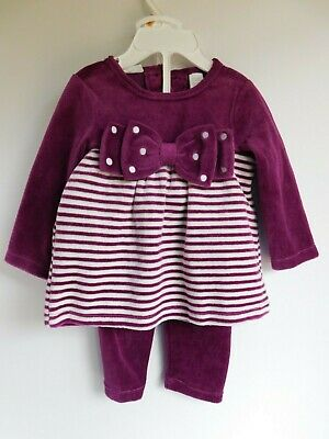 NWT Baby Girl 2 Pc Outfit First Impressions 6-9M Purple/White MSRP$29.50 New