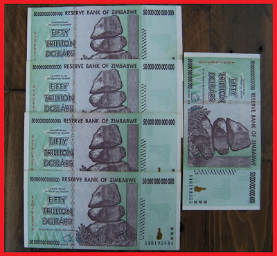 Blowout! 5 Pcs Zimbabwe 50 Trillion! Guaranteed Authentic! Over 100 In Stock!