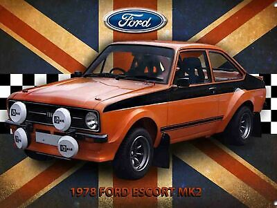 Ford Escort Retro metal Aluminium Sign vintage / man cave / garage / Shed Gift