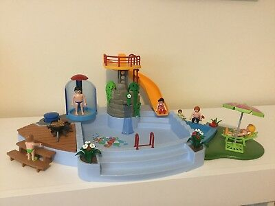 Playmobil Swimming Pool With Water Slide And Pump Shower Set 4858