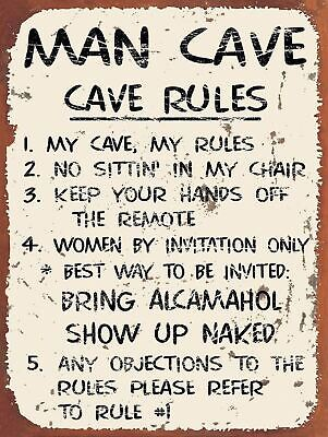 Man Cave Rules, Retro metal Sign vintage / man cave