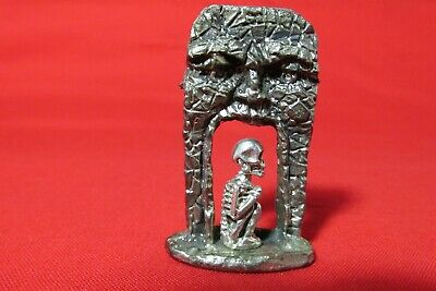 Pewter Fantasy Crystal Ball And Castle Door With  A Face Figurine