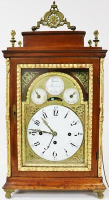 Antique 18thc Austrian 3 Train Single Fusee Verge Grande Sonnerie Bracket Clock