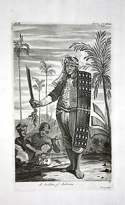 1730 Ambon island soldier Indonesia Maluku Kupferstich engraving Churchill