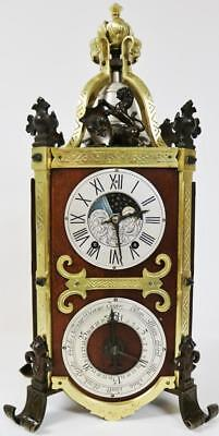 Rare Antique French Gothic Oak & Bronze Moonphase Calendar Lantern Bracket Clock