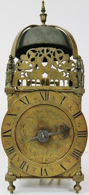 Very Rare Antique 18thc English Weight Driven Verge Striking Lantern Wall Clock