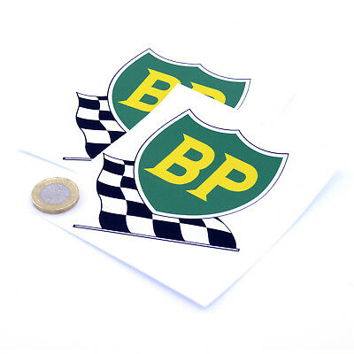 "2x Classic BP Racing Shield Car STICKERS 4"" 100mm Sports Racing decals Petrol"