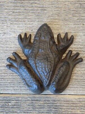 "Cast Iron Frog Paper Weight Garden Yard Shelf Decor Figurine 3 1/2"" Rustic Toad"
