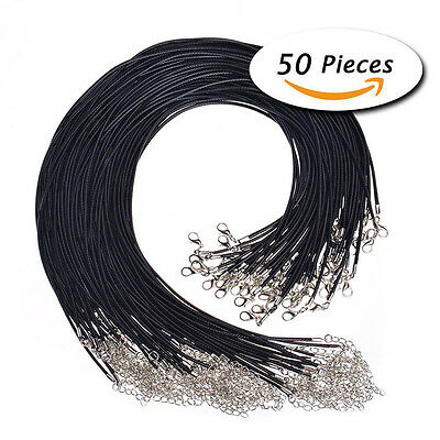 """50Pcs 18"""" Black Leather Braided Wax Cord Necklace for DIY Jewelry"""