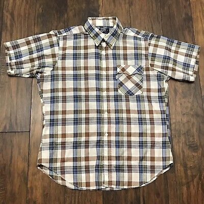 Vintage 80s Levis Plaid Button Up Shirt Made in USA Beige Brown Blue Mens Large