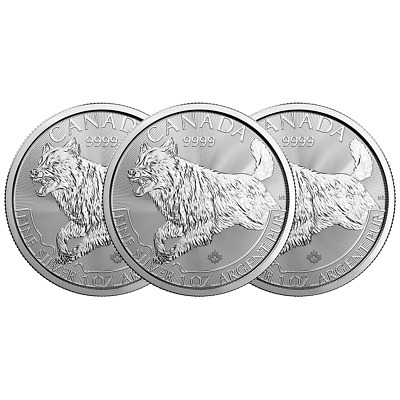 Lot of 3 - 2018 $5 Silver Canadian Wolf Predator Series 1 oz Brilliant Uncircula