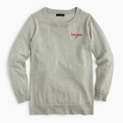 """NEW J.Crew Tippi Sweater """"Bonjour"""", Thin Fitted Merino Wool Sweater MSRP $79"""