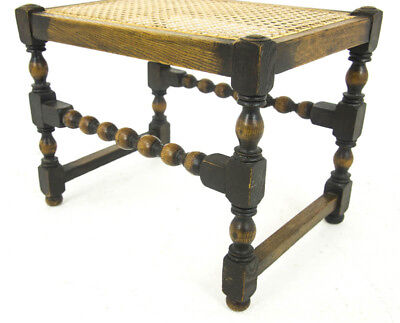 Antique Dressing Stool, Caned Top Seat, Beechwood, Antique Furniture, B986
