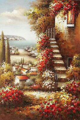 """""""Tuscan Steps""""  24x36 100%Hand Painted Oil Painting on Canvas,"""