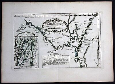 1764 - Red River Mississippi Louisiana Bellin handcolored antique map