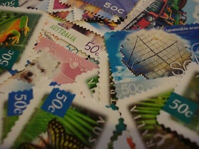 Australian 50 Cents Stamps Unfranked FV $100 , 200 pieces