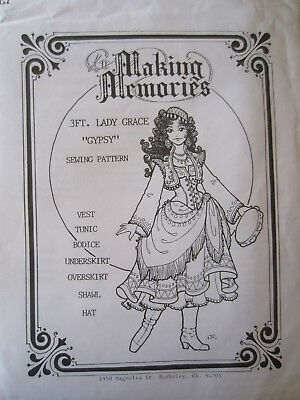 """Making Memories """"Gypsy""""  Sewing Pattern for 3 ft. Lady Grace, New and Uncut"""