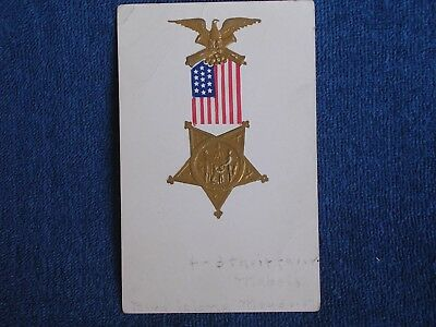 Grand Army of the Republic Medal-American Flag/Gilt Embossed Postcard/1907