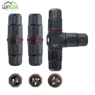 ip68 waterproof 3-pin 2-pin cable connector plug socket junction for gardening