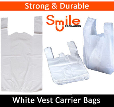 "300 x WHITE PLASTIC CARRIER BAGS 11x17x21"" 19MU SHOP SUPERMARKET RETAIL STALL"
