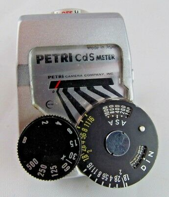Petri clip-on CDS meter for Petri film SLR cameras - Tested, New Battery - Japan