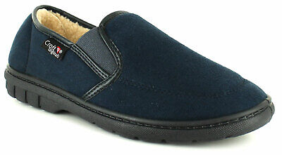 New Mens/Gents Croft Originals Navy Twin Gusset Full Slippers UK Size