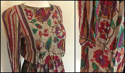 VINTAGE 80s PRAIRIE STYLE DRESS TAPESTRY PRINT STUNNING COLOURS SIZE S-M