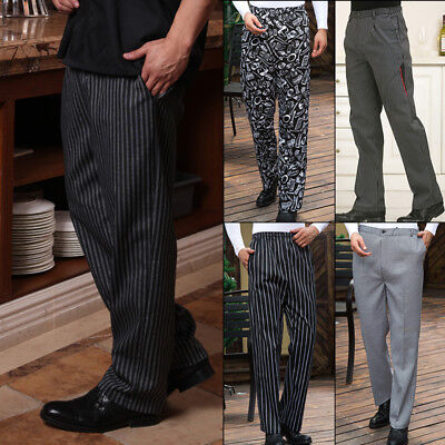 Mens Restaurant Staff Long Pants Kitchen Trousers Chef Bottoms Work Striped New