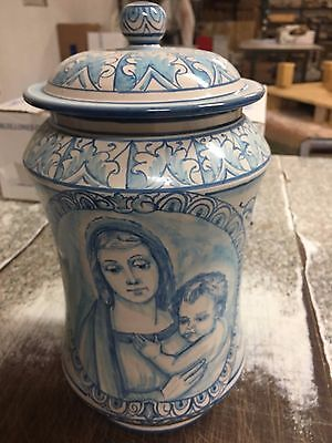JAR CERAMICS HAND-DECORATED h30 CM made in italy PIECE SINGLE blue CERAMICASCURO