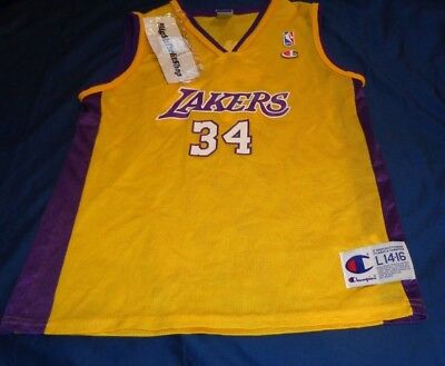 Los Angeles Lakers Champion Shaquille O neal NBA Basketball Jersey Youth  Large 146dd237b