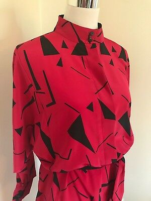 GENUINE 80s GEOMETRIC PRINT DRESS 'PRIVATE COLLECTION by MARK WARREN' SIZE 16