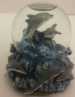 """8 Dolphins in the Sea (3 in Globe/5 on Base) GLASS WATER GLOBE 3.5"""" x 3.25"""""""