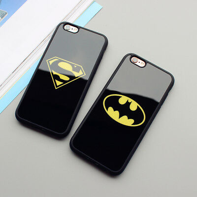 Superman Bat Man Mirror Phone Case Shockproof Cover for iPhone 6 6s Plus 7 8 ×