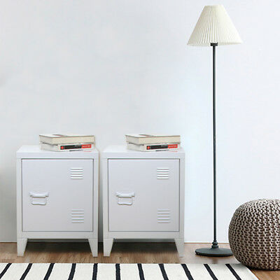 PAIR of Retro Locker Side Cabinets VINTAGE INDUSTRIAL BEDSIDE TABLES UK