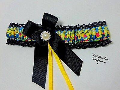 Minions Lace Bridal Wedding Garter. despicable me