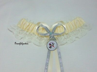 Minnie and Mickey Mouse Ivory Disney Bridal themed Wedding Garter.