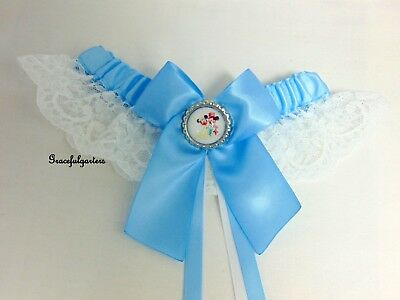 Mickey & Minnie mouse Disney Bridal Wedding garter. any colour