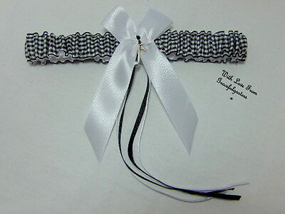 black and white gingham Bridal Wedding garter,toss garter with music note charm.