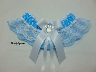 Small Minnie mouse polka dot lace bridal wedding Garter