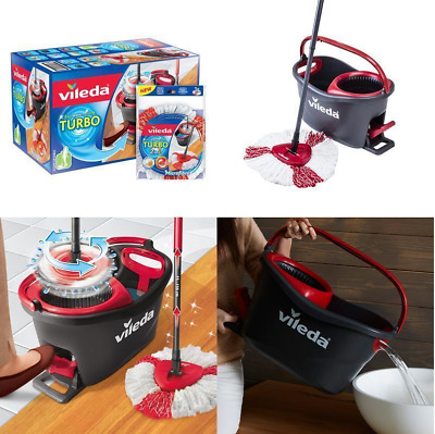 Vileda Easy Wring and Clean Turbo Microfibre Mop and Bucket Set Spin Heads Floor