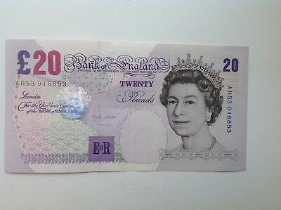 Bank Of England (£20) Twenty Pound Banknote (A/Unc) M Lowther AH53-016853