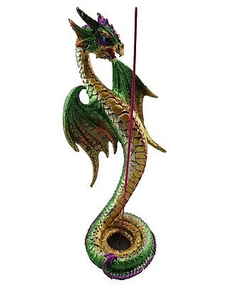 Dragon Incense Holder Burner Ornament Statue Figurine Sculpture Green Purple 25c