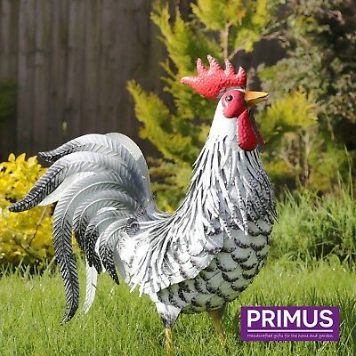 Primus Deluxe Hand Crafted Large Metal Chicken Garden Ornament Farm Sculpture