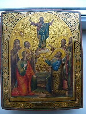 """Antique19c Russian Orthodox Hand Painted Wood Icon""""Ascension of Christ""""on gold"""