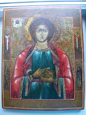 "Antique 19c Russian Orthodox Hand Painted Wood Icon ""Saint Pantaleon"""