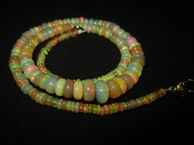 """20"""" Natural Beautiful Welo Ethiopian Opal Rondelle Beads Necklace Gift CJ04"""