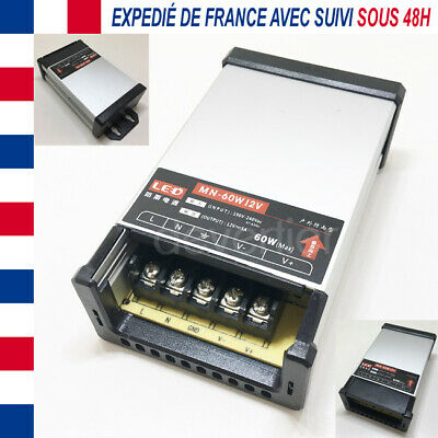 Alimentation Transformateur 12V Dc 5A 60W Etanche Ip23 Ruban Led Camera Enseigne