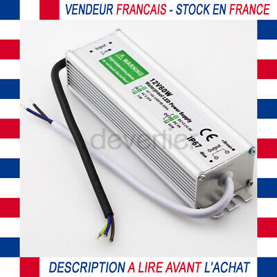 Alimentation Transformateur 12V Dc 5A 60W Etanche Ip67 Ampoule Ruban Led Camera