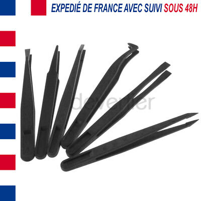 6X Pinces Pincettes Brucelles Precision Anti Statique Anti Magnetique Pp Fibre